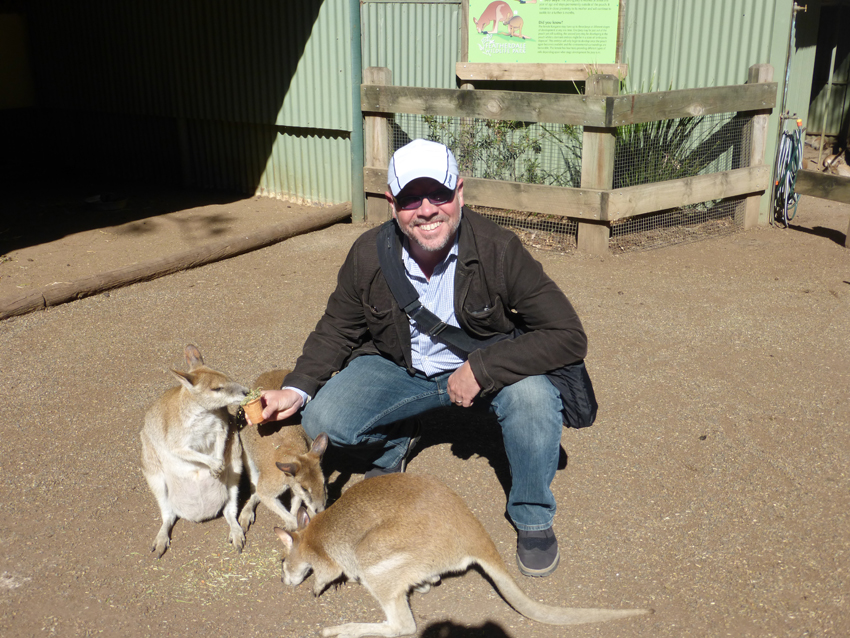 On the way there, we stopped at Featherdale Wildlife Park.  They rehabilitate injured animals and provide a learning center for the community.  It is shocking, but yes, Michael is actually enjoying a tender moment with a kangaroo without thinking about what wine pairing would go best.