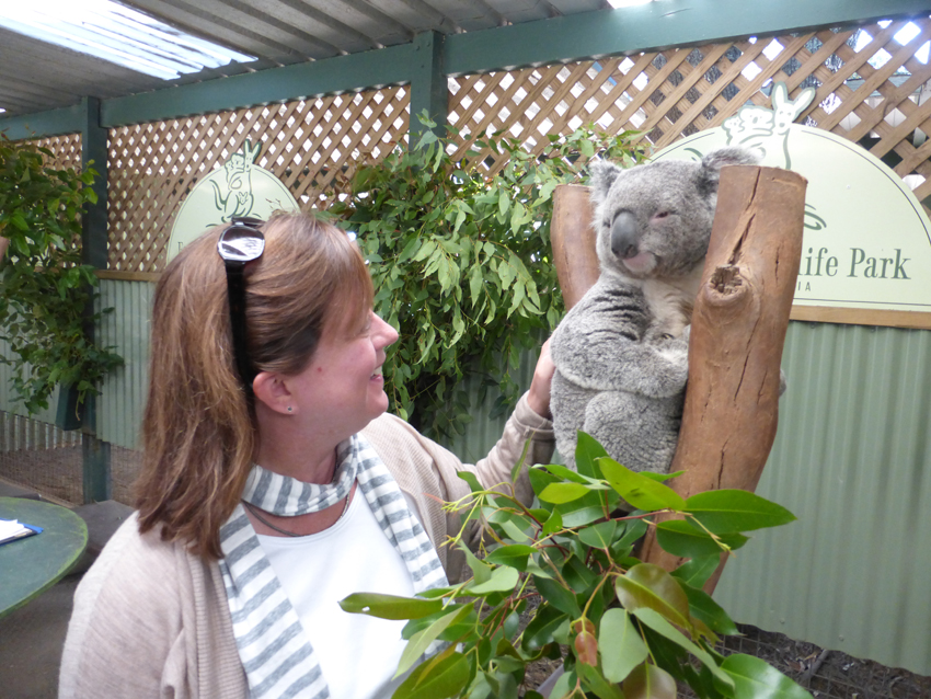 Annie with her friend, the suspicious koala.