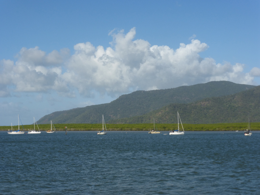 Gorgeous Cairns, Australia!  A shot from our boat out to (part of) The Great Barrier Reef.