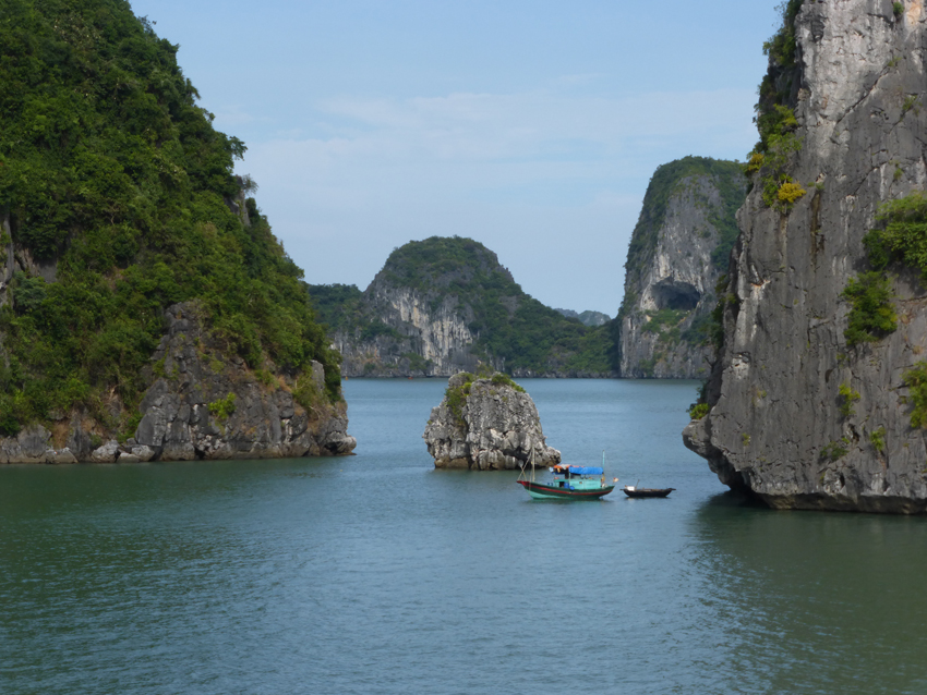 Designated a UNESCO World Heritage Site, Halong Bay is spread across a 580 square mile area with more than 2,000 pinnacle-shaped limestone islands (or outcrops), isolated caves and sandy coves.