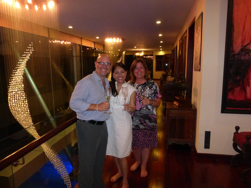 After the boat ride on the Saigon River, we went to Mark and Evelyn's beautiful home for some champagne and spring rolls.