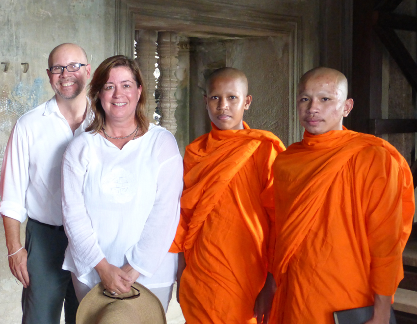 There were many young Buddhist monks-in-training visiting Angkor Wat, as well. They graciously took pictures with us and many other tourists. Their one question was very sweet…they asked if their picture would be shown to our friends in America. Done.