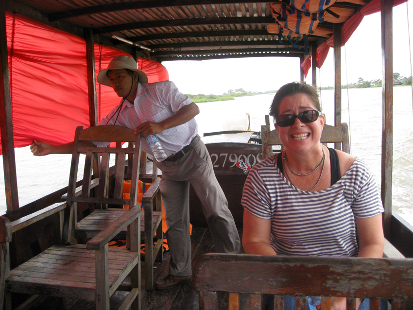 Annie was a little bit scared of the actual boat ride that we took to tour around the village.