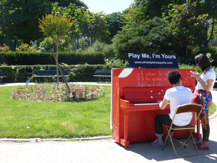This weekend in Paris, the streets are filled with music to celebrate the Summer Solstice, the longest day of the year and the official start of summer. This park near The Champs Ellysees had dozens of pianos just sitting around - anybody could walk up and play.