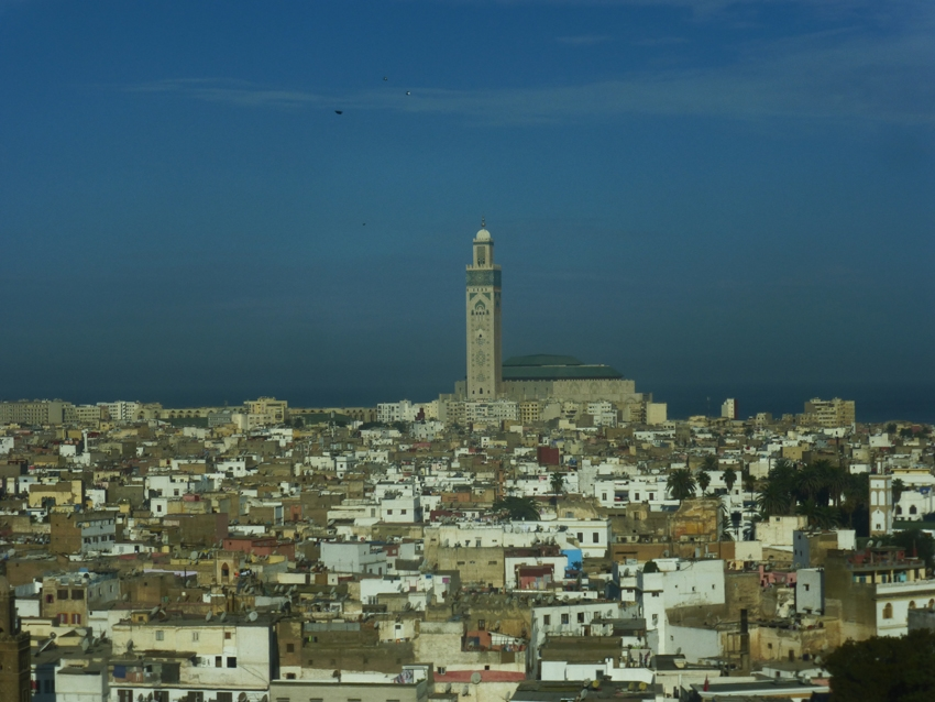 The view of the Hassan II Mosque from our hotel room.