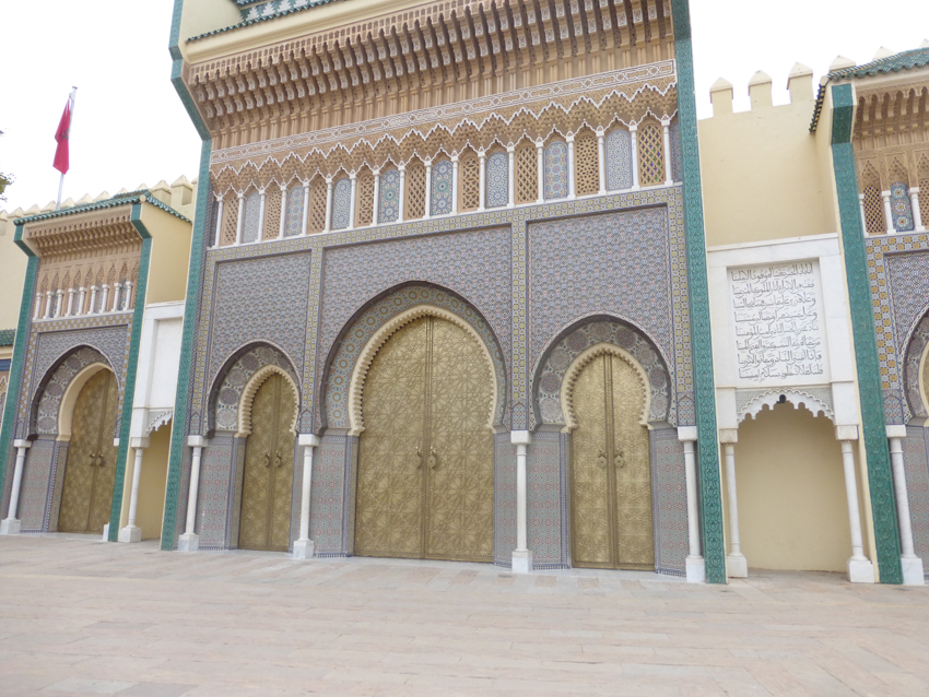 The brass doors of the King's Fes palace.  There is a palace in every major city,  Look at the detail of the doors in the background image behind this post.
