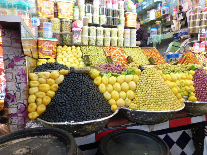We also went through one of the large markets in Meknes.  The olive piles are fantastic, right?