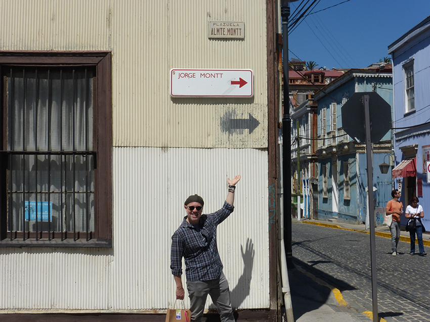 We found one of the many streets in Chile named after Michael's great grandfather! That legacy and 4,500 pesos got him a coffee at the cafe down the block.