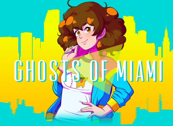 GHOSTS OF MIAMI (2017) - A mystery visual novel set in 1986 miami, featuring a lot of decision-making, crime-solving, and heart-breaking. My work on Ghosts of Miami included drawing in-game backgrounds and collaborating with character designer Cassie Freire to create CGs, as well as editorial work on the game's script.