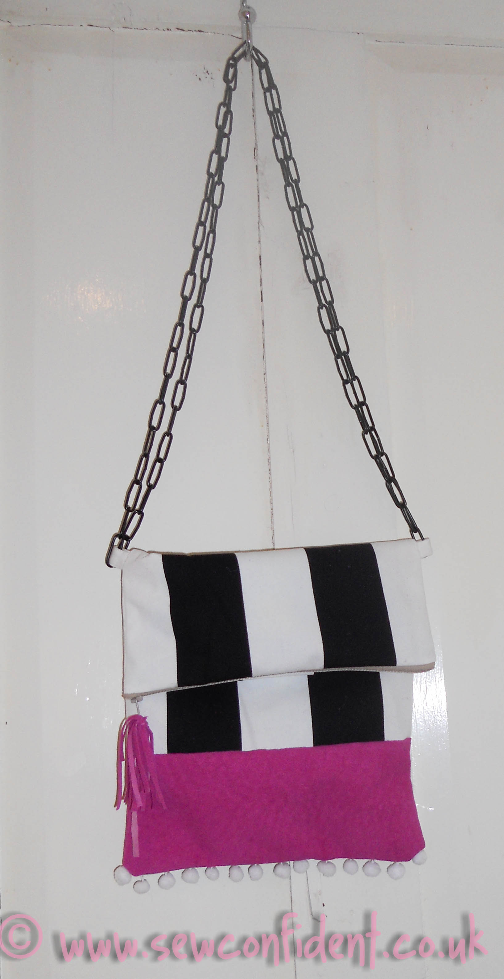 Two Tone Zipped Bag with Chain Zip