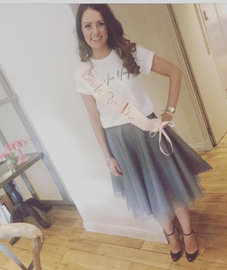 Amanda's gorgeous sister wears a bespoke tulle circle skirt for her hen do!
