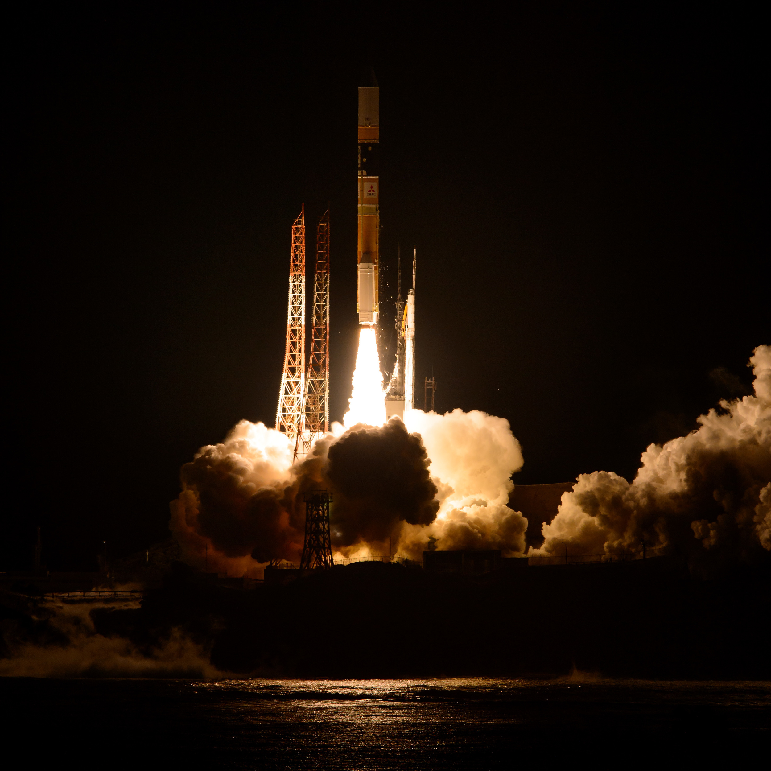 Liftoff of the Mitsubishi H2-A rocket carrying the GPM satellite into space from the Tanegashima Space Center in Japan.