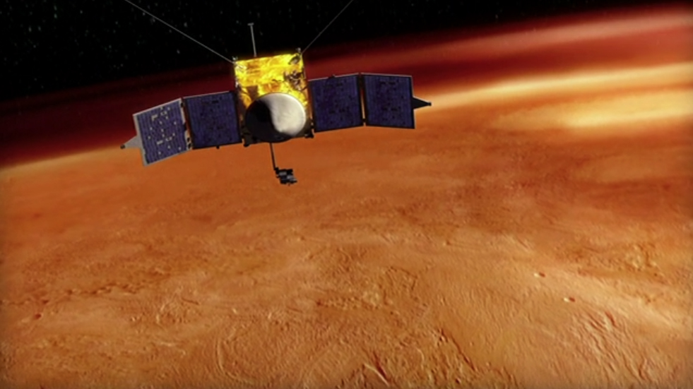 The    Mars Atmosphere and Volatile EvolutioN    (   MAVEN   ) mission will study the Martian atmosphere and how the Red Planet interacts with the solar wind.