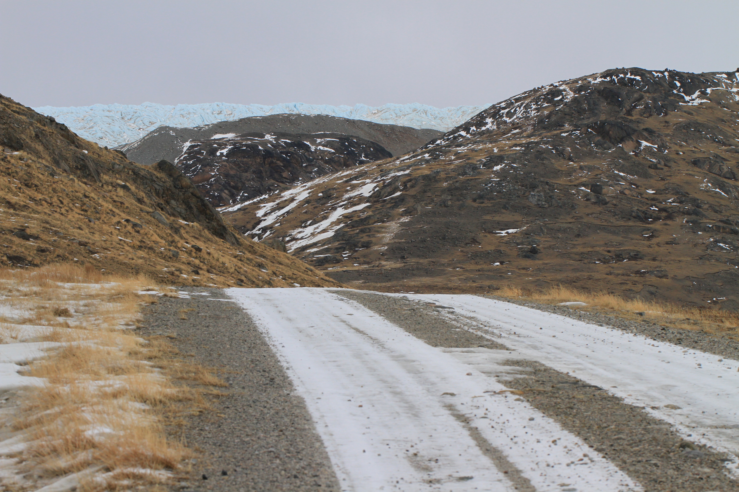 This constitutes a main road just outside of Kangerlussuaq, Greenland. If you don't like where it's going, you might be out of luck, because there aren't many alternatives.