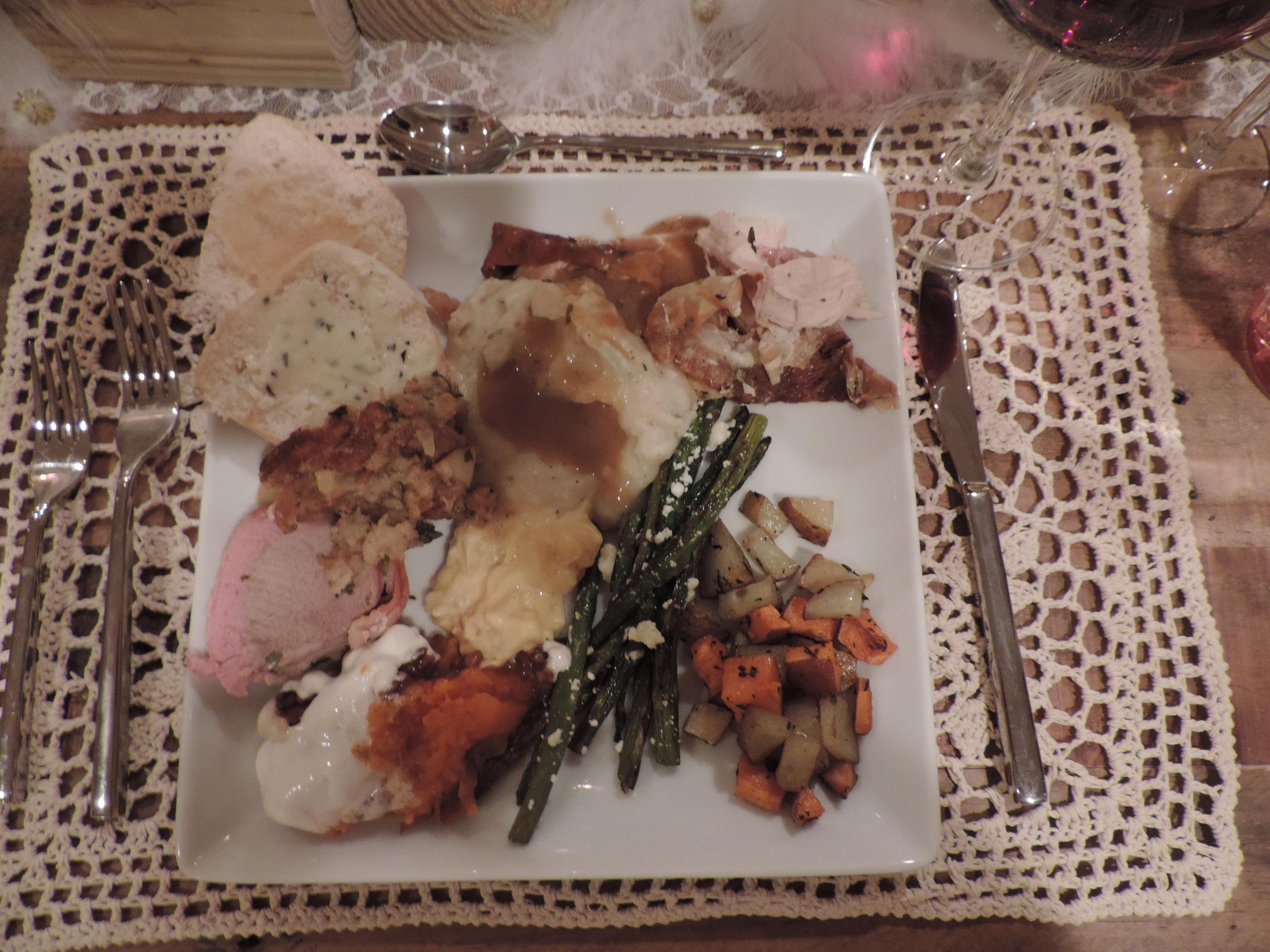 Pork Tenderloin, Turkey, Mashed Potato, Gravy, Asparagus, Roasted Potatoes, Candied Yams, Cheesy Hashbrowns, Rolls with Homemade Rosemary Lemon Butter!
