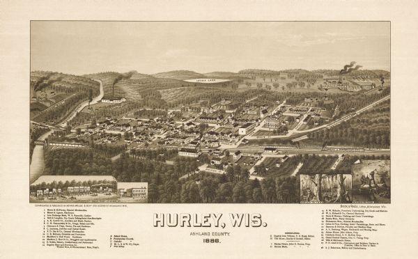 Birdseye view of Hurley in 1885