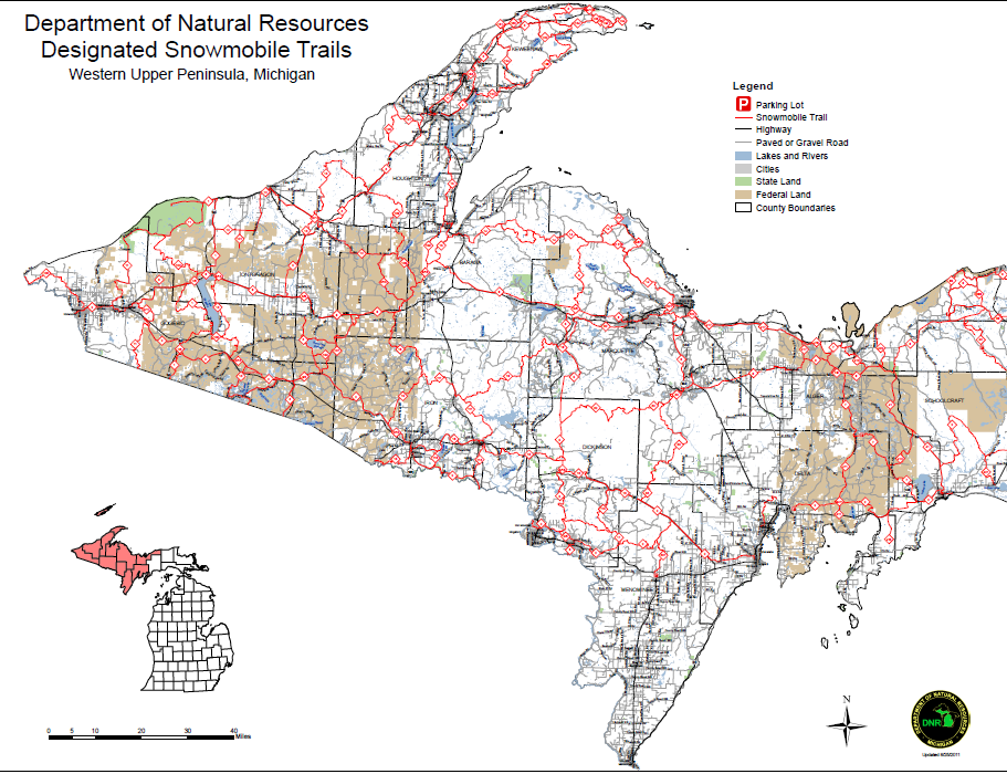 Upper Peninsula Snowmobile Trail Map