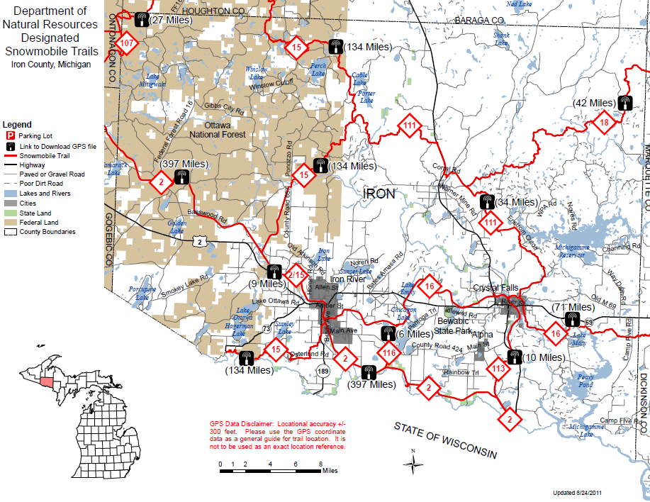 Iron County Snowmobile Trail Map