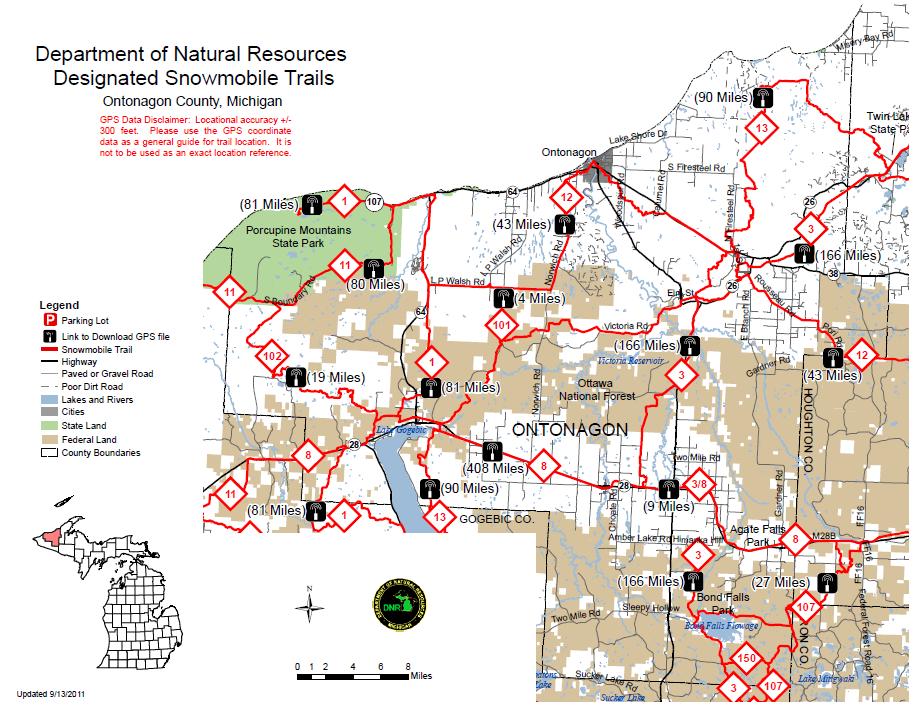 Ontonagon County Snowmobile Trail Map