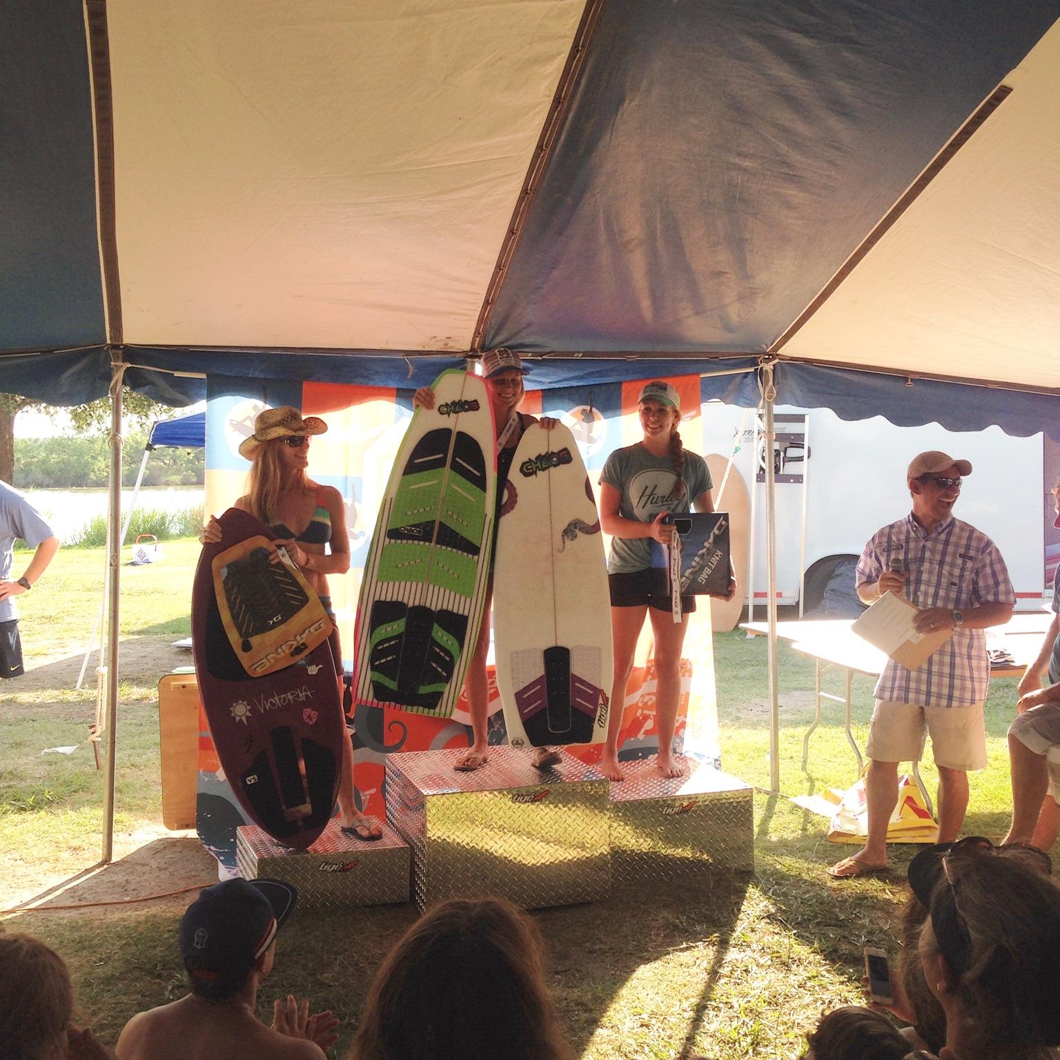 Women's Surf Podium. Team Rider Hana Darwin taking the win on her Chaos Contender.