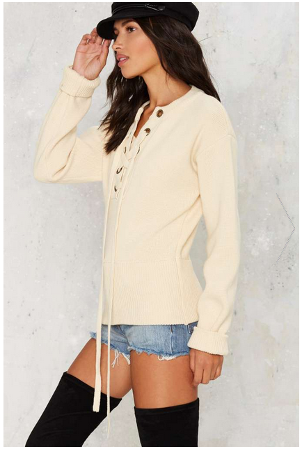 Mine Or Yours Lace Up Sweater from Nasty Gal $68