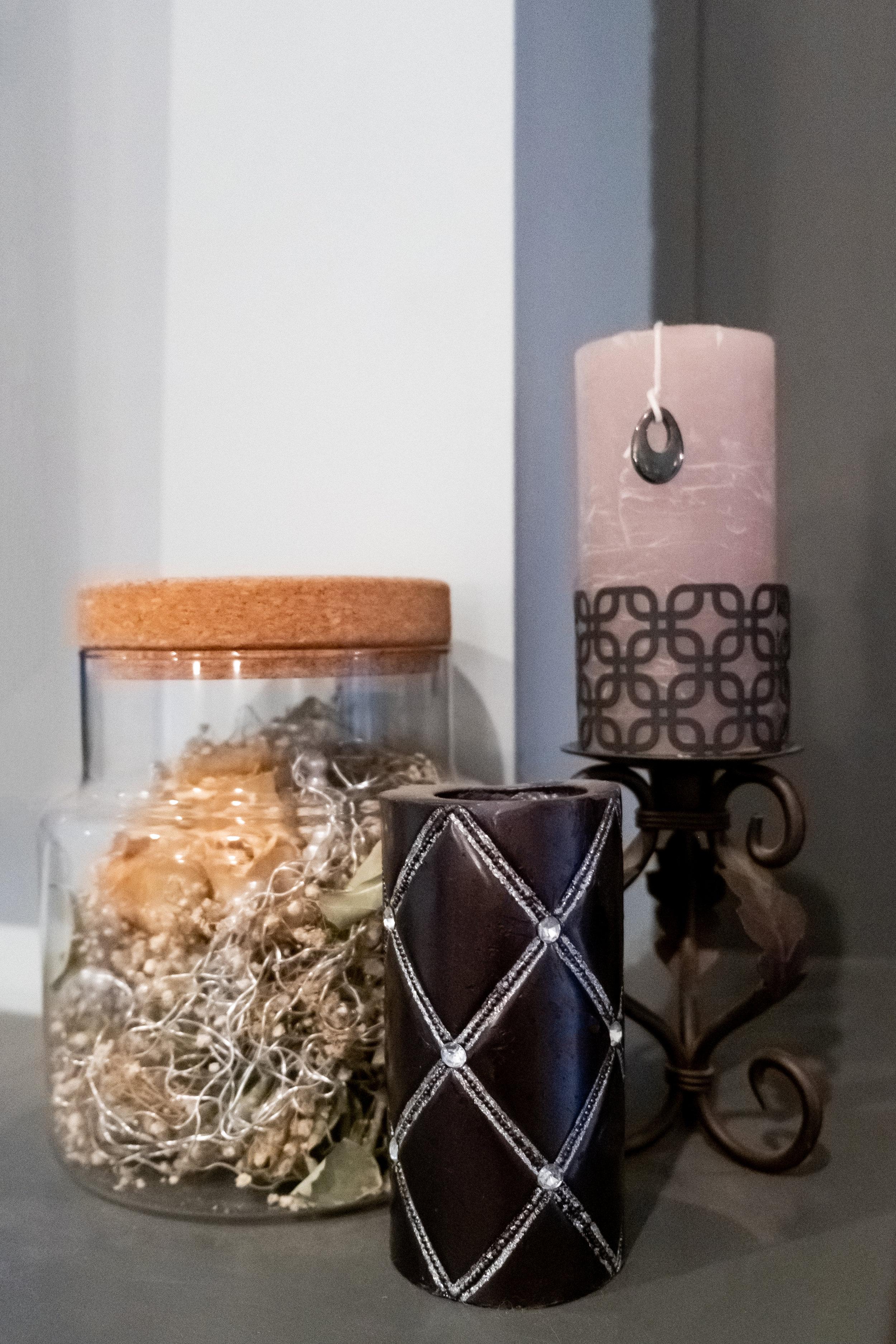 candles, home decor, geometric, metal, glass, glam, vignette