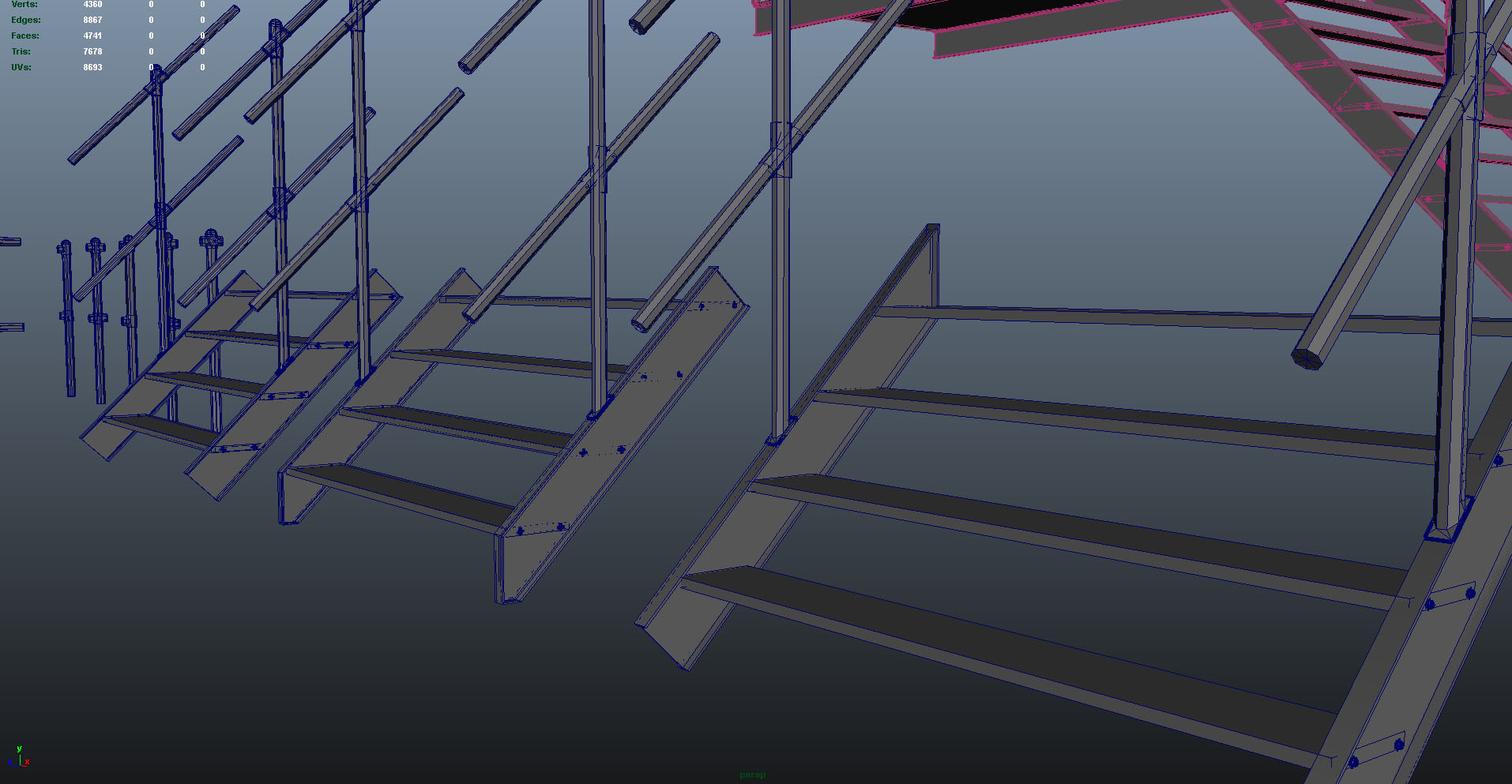 handrail & stairs modular sections - detail