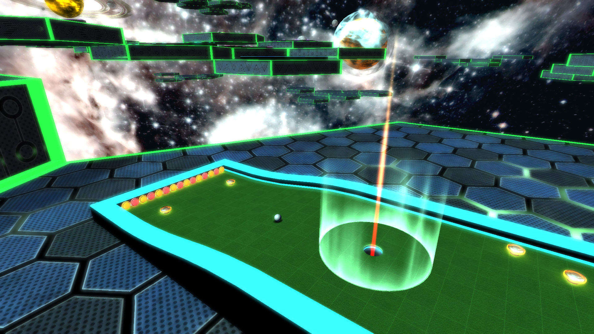 Responsible for Art Direction, contribution to game design, level concept. Created shaders for all mini-putt holes; created skybox art; lighting, shader, environment and particle effects; GUI design and implementation. Rendered in Unity.