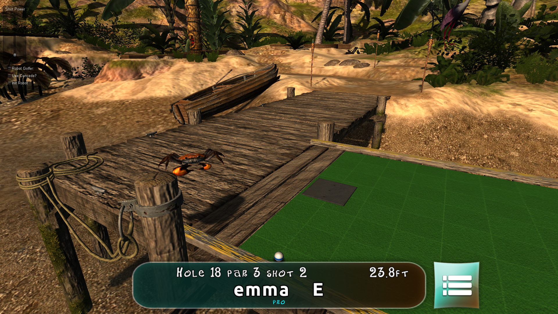 Responsible for Art Direction, contribution to game design, assembled entire level. Modeled and textured all terrain, rocks, dock, tiki hut, lantern; textured all mini-putt holes; lighting, shader setup; GUI design and implementation. Rendered in Unity.