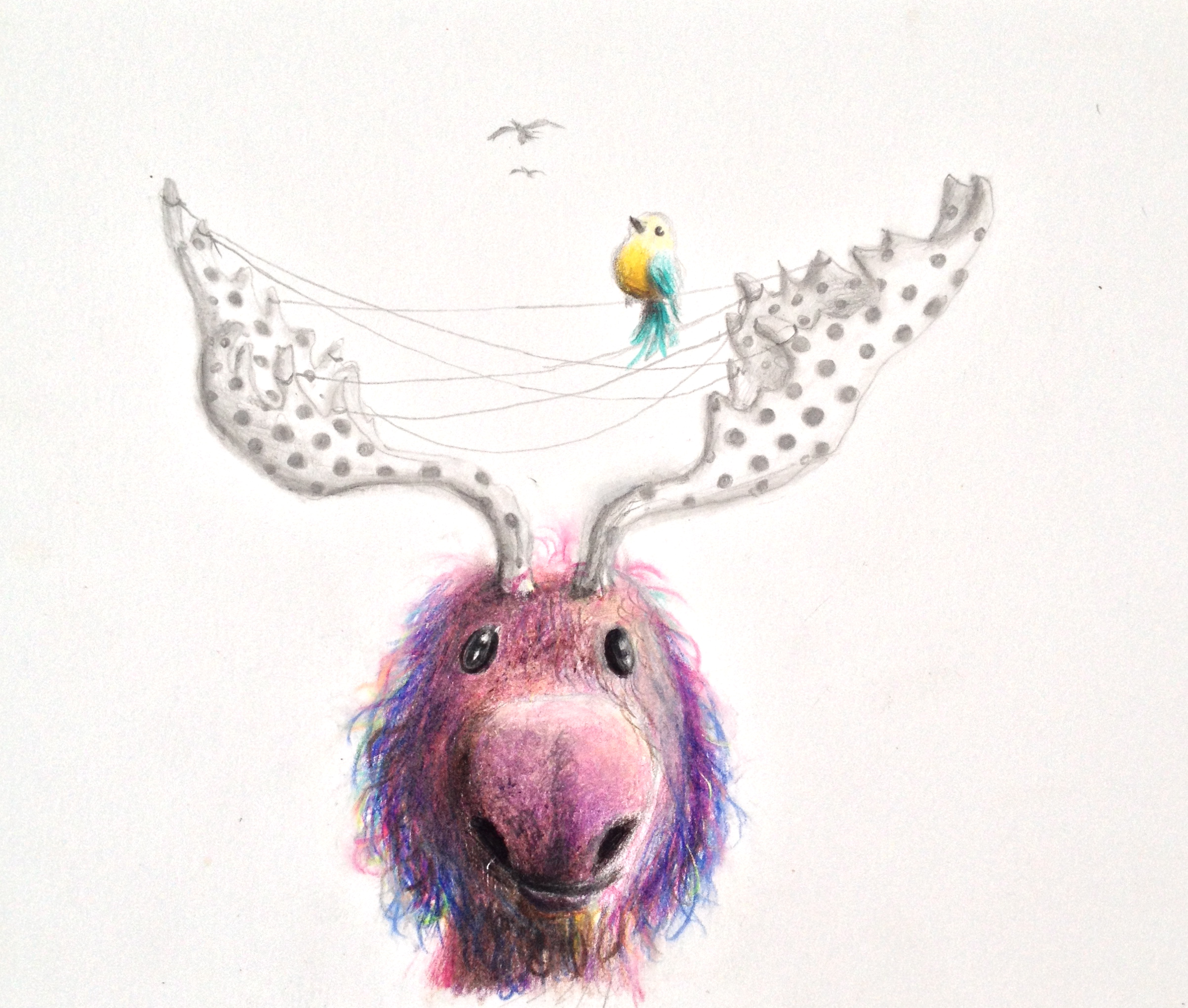 """Purple Moose""  9""x7"" colored pencil on paper"