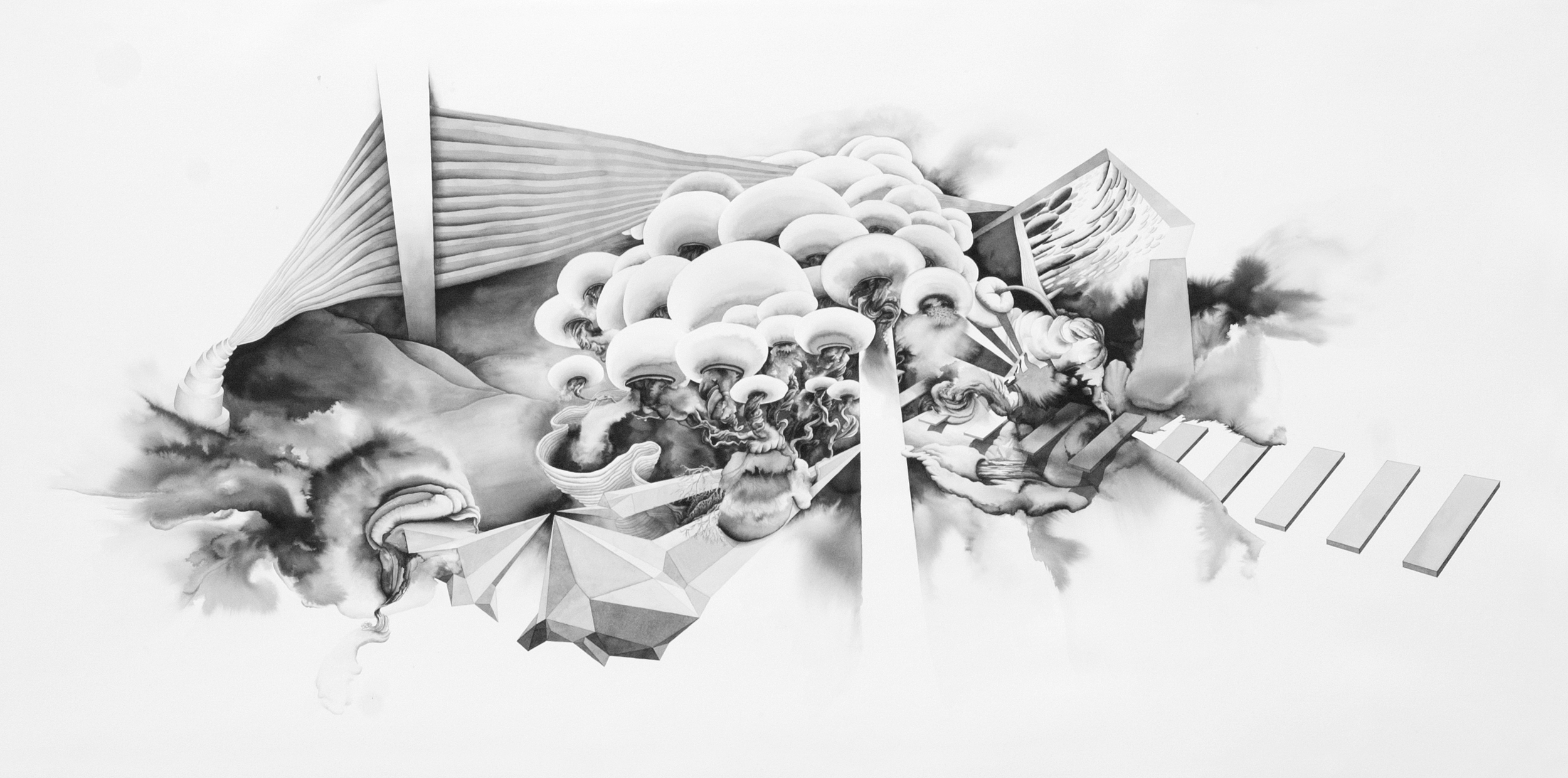 The Cloud of Unknowing , 2012  ink on paper  42x86 inches