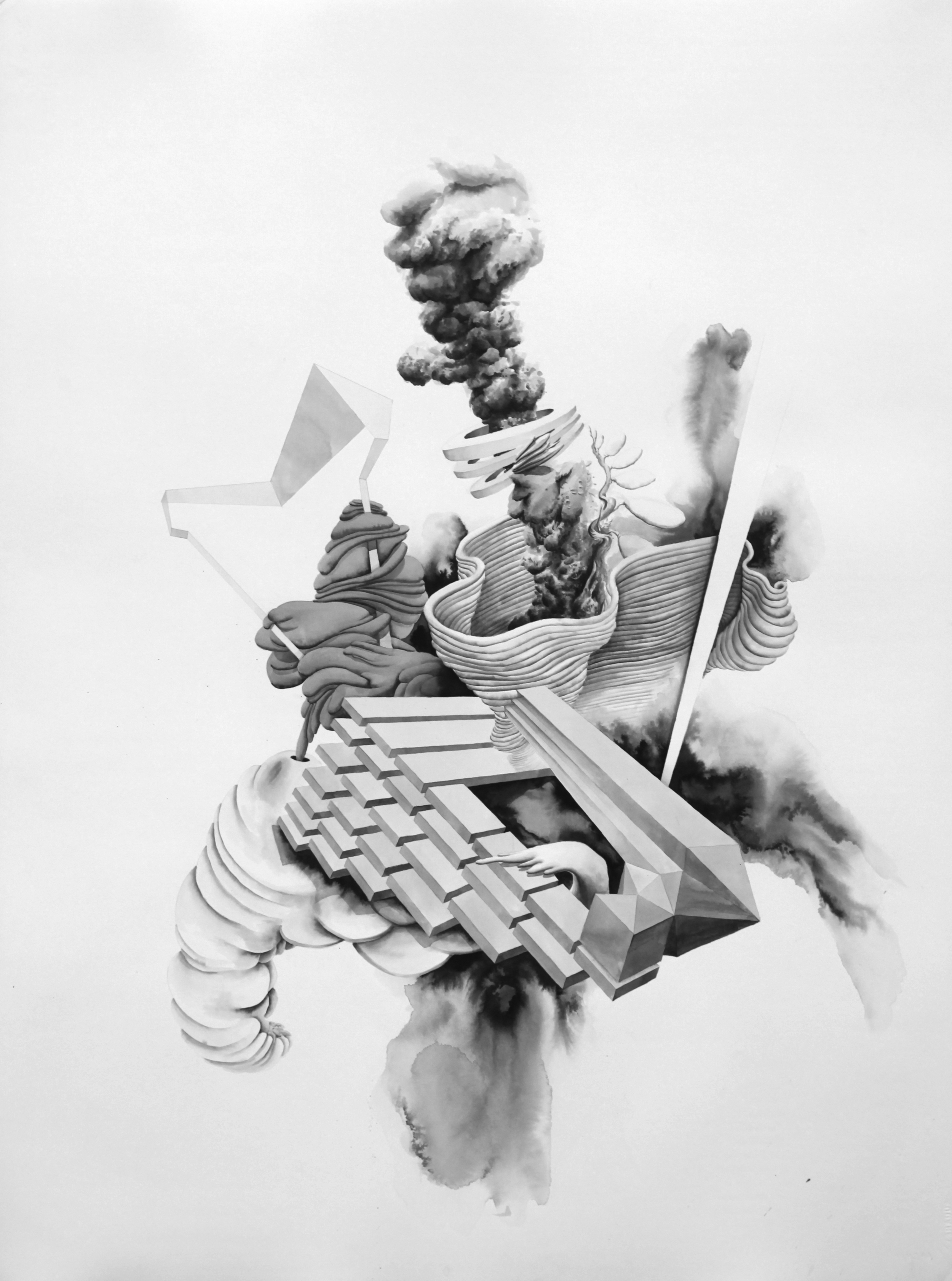 Clouds of Unknowing #2 , 2014  ink on paper  30x22.5 inches