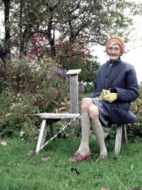 Granny Ritchie in the garden.