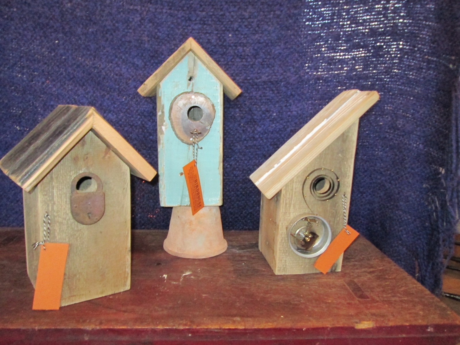 Reuben Little's birdhouses made from recycled materials.