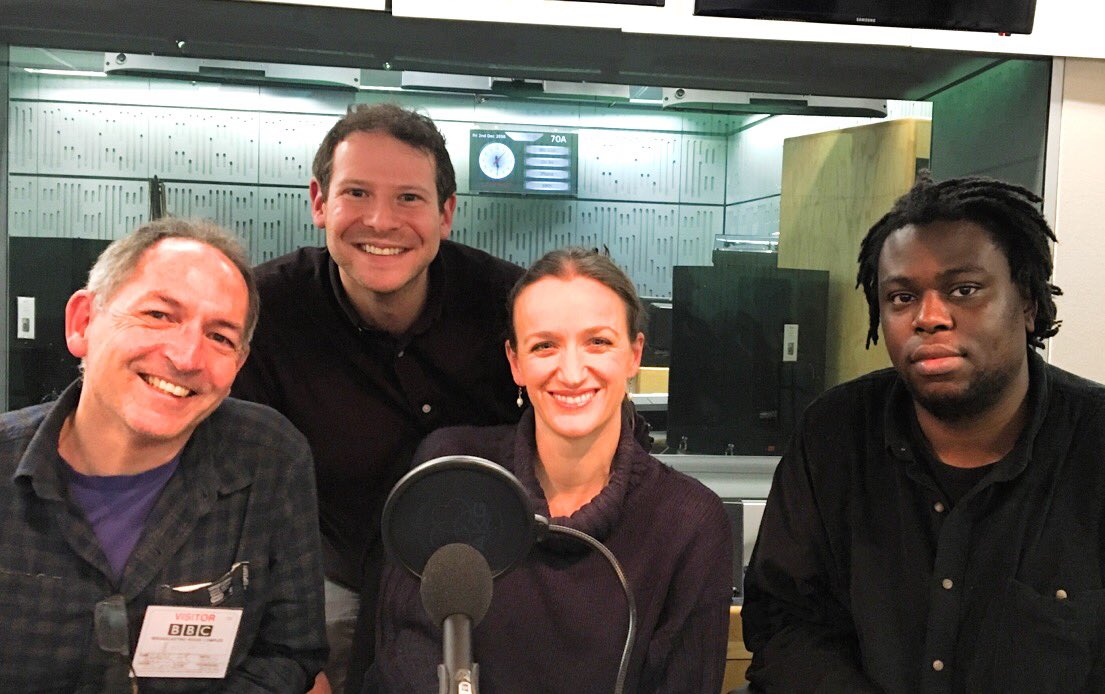 Jules Evans, me, Kate Smurthwaite and Ogaga Emuyevan at a recording of   The Male Room  , 2016.