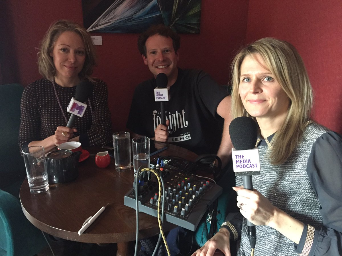 Recording The Media Podcast at the Picturehouse Cinemas Members Bar, May 2017, with guests Lisa Campbell, Director of the Edinburgh International Television Festival and Guardian journalist Tara Conlan