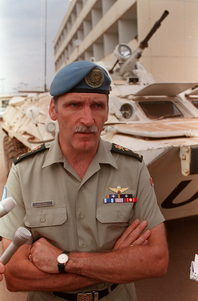 Major-General Romeo Dallaireat in a picture taken at the Kigali airport on Aug. 1, 1994. (Ryan Remiorz/CP)