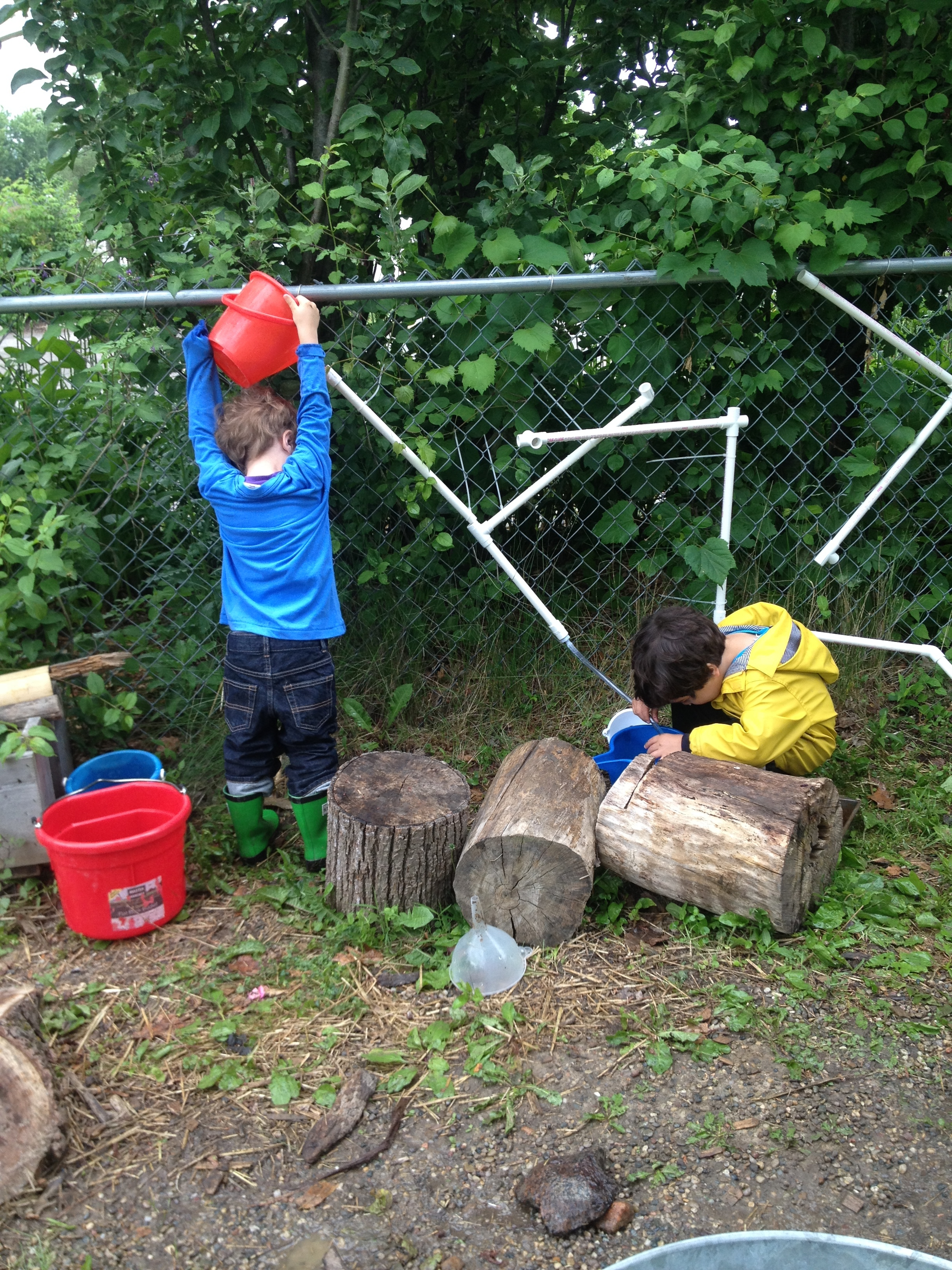 All of the water play promoted even more learning and cooperative play.