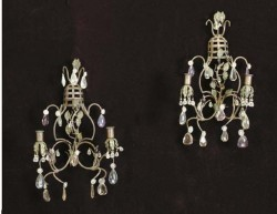 "Wrought iron & cut glass wall lights  - $1400/pair  Height: 20""  Width: 22"""