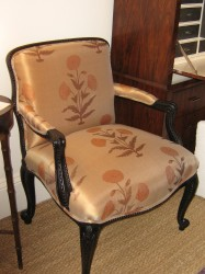 "Silk Upholstered George III Style Open Arm Chair  - $5800  Height:36""  Width: 26""  Depth: 22"""