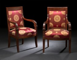 "Pair of French Mahogany arm Chairs in Red Silk  - $5600/ pair  Height: 36""  Width"" 22""  Depth: 19"""