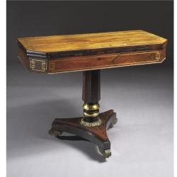 "English Rosewood Brass Inlaid Card Table  - $4600  Height: 29.5""  Width: 37""  Depth: 36"""