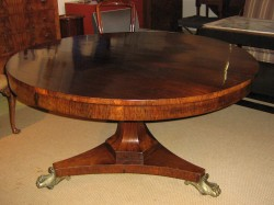 """Early 19th Cen. Rosewood Pedestal Dining Table -$7900  Height: 29.5""""  Width: 54""""  Depth: 54"""""""