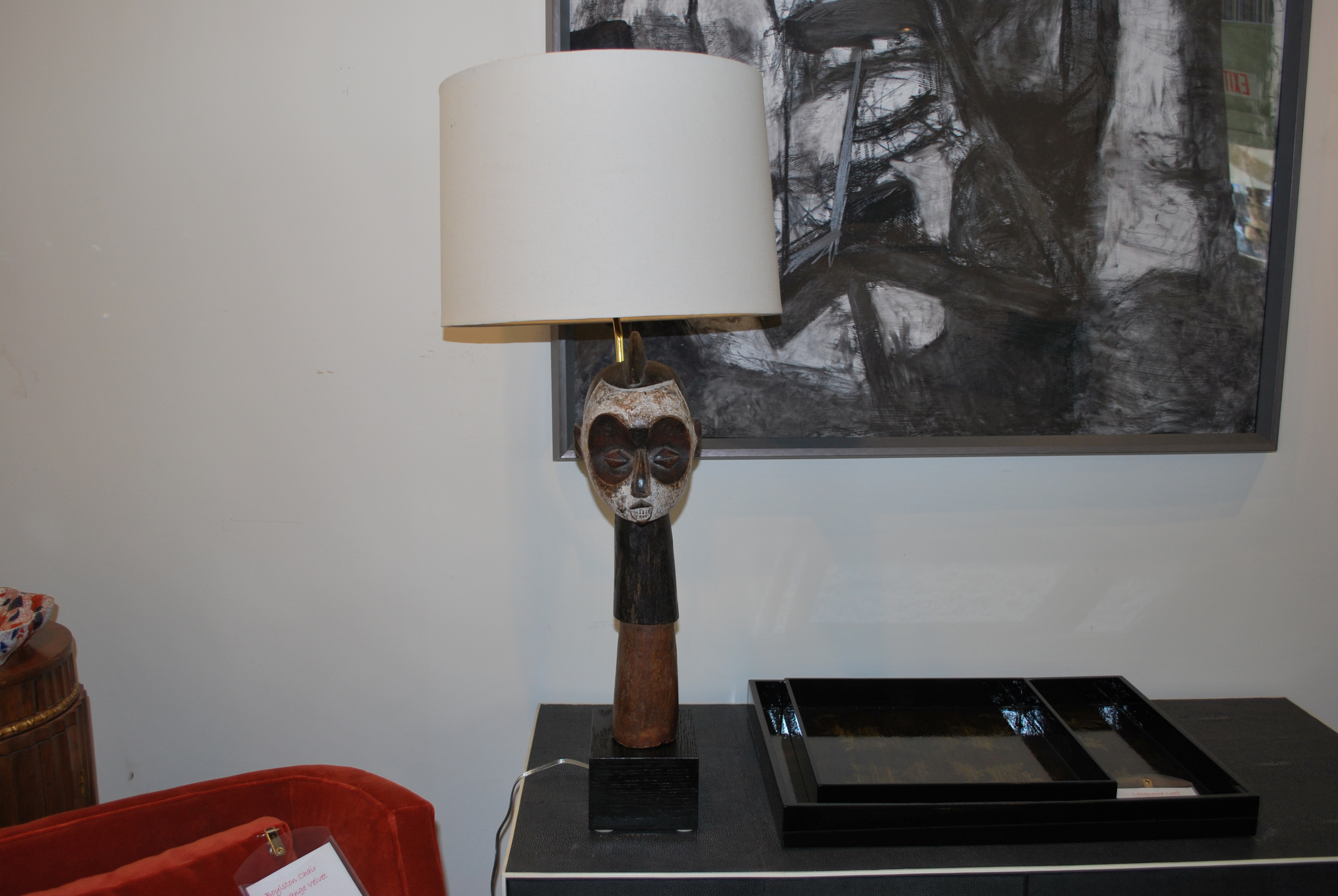 """African Head -$390  Height: 35"""" (overall)  Width/Depth: 5""""x6"""" (base)"""