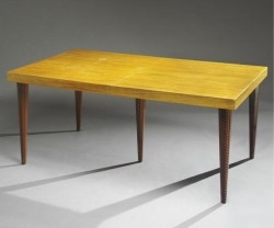 """20th Cen. Gilbert Rhode Maple Dining Table with Leaf - $3800  Height: x29.5""""  Width: 40""""  Depth: 68""""-82"""""""