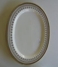 "Gold & White Greek Key Platter - $395  Height: x""  Width: 15""  Depth: 19"""