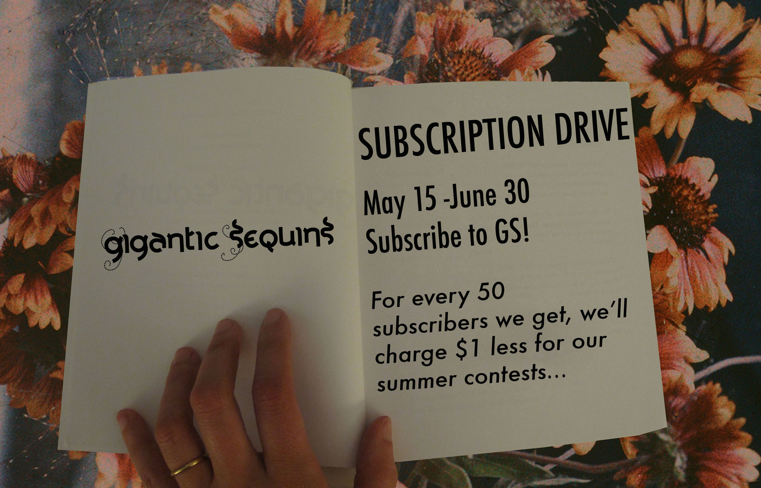 Gigantic Sequins subscription drive flyer.