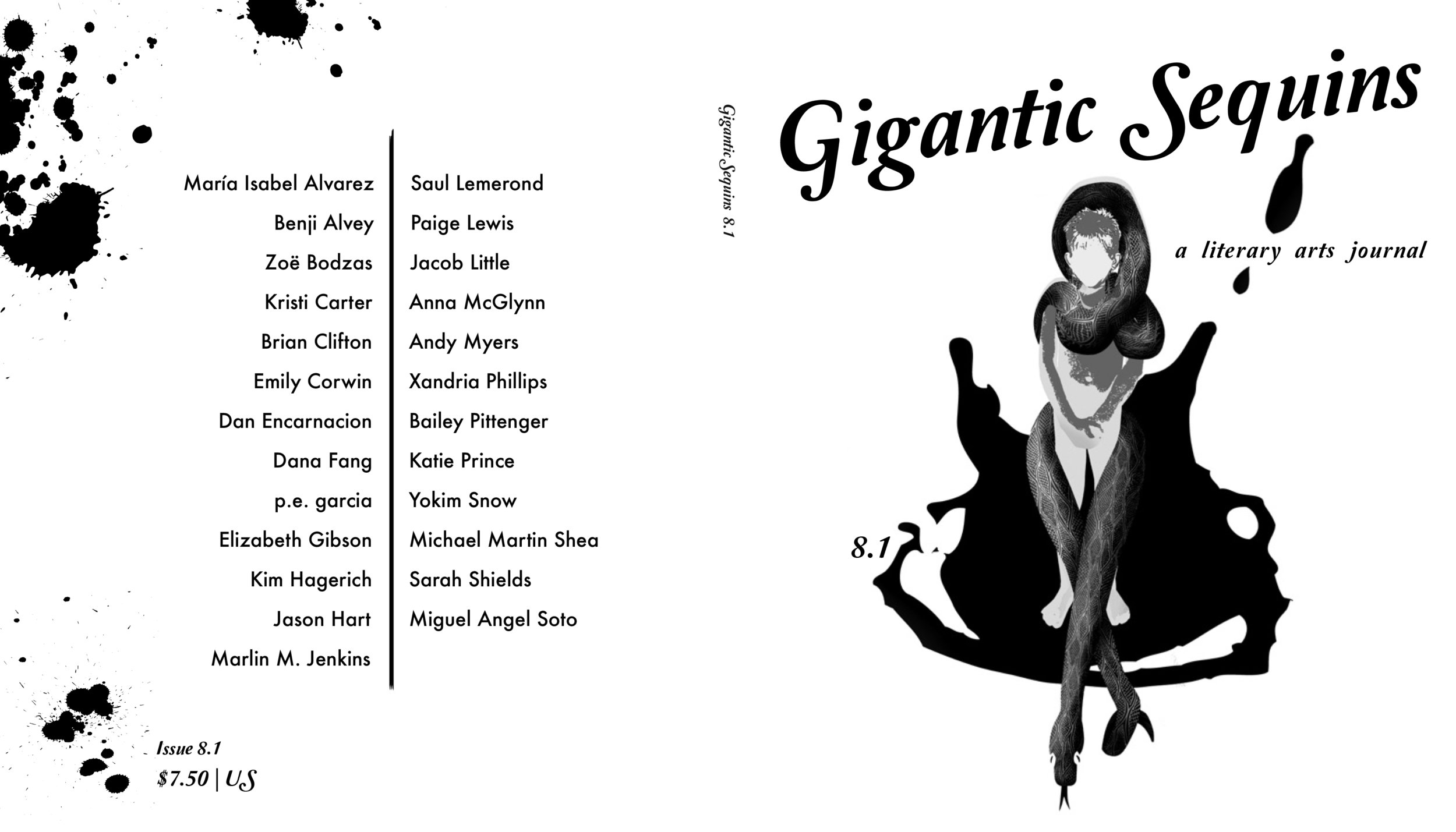 Cover design + interior layout for   Gigantic Sequins: A Literary Arts Journal  ,  Issue 8.1  (January 2017).