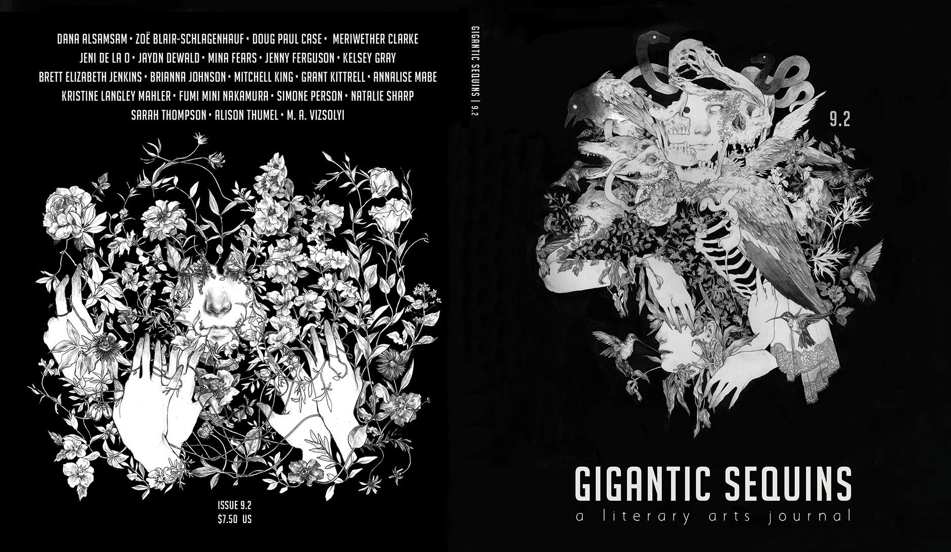 Cover design + interior layout for   Gigantic Sequins: A Literary Arts Journal , Issue 9.2  (July 2018).