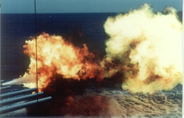 This is what is supposed to happen when the USS Iowa does a full 16 inch broadside.    Image courtesy of Eric Chase